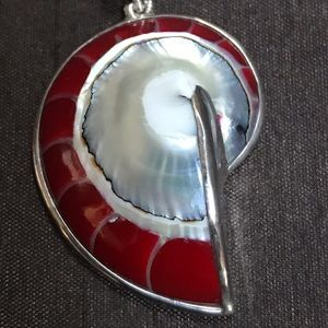Brooch. Red/Mother of Pearl inlay.